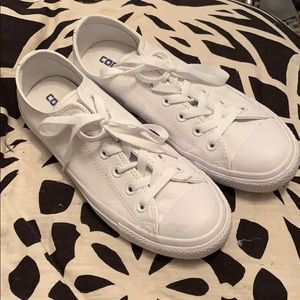 All white leather converse